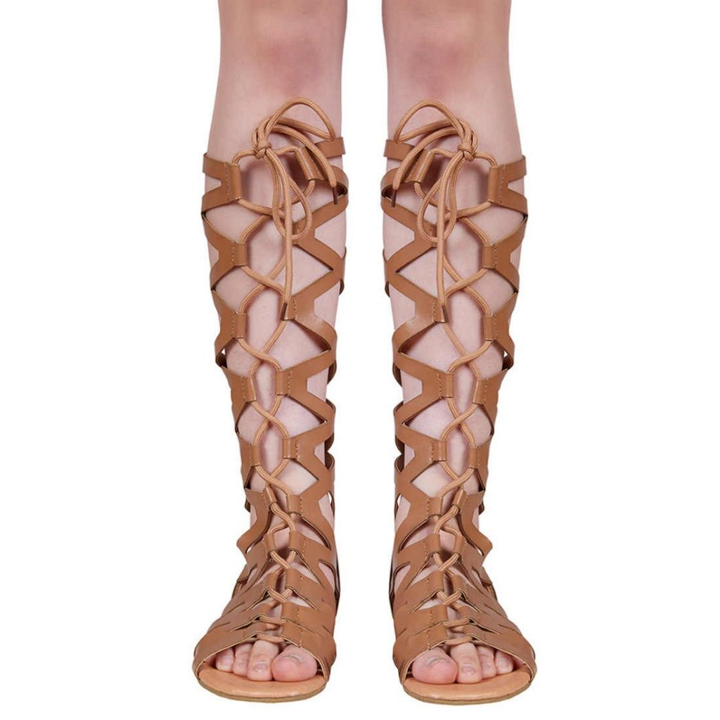 Women Gladiator Sandals Flat, Summer Strappy Lace Up