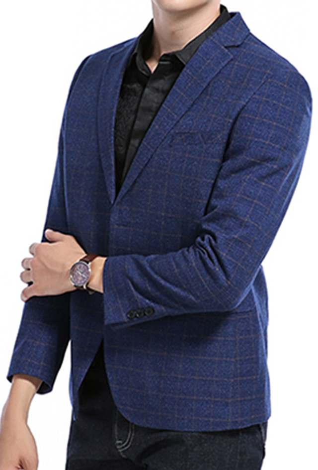 Multipocket Plaid Men's Casual Blazer