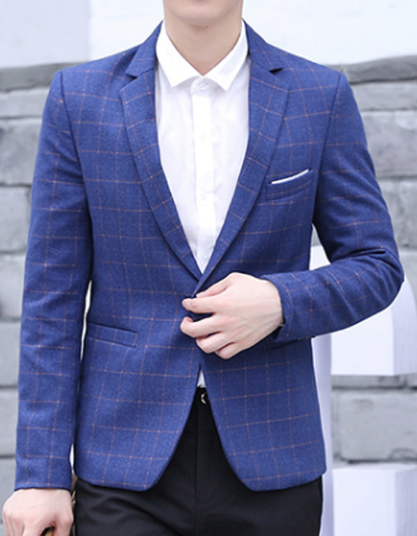 Men's Slim Fit Blue a plaid Blazer